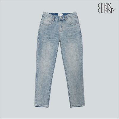 CROP TAPERED DENIM PANTS_LIGHT BLUE / KKMDLWMDN01